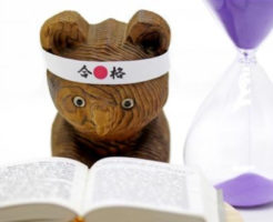 勉強している熊(木製)